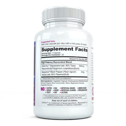 resvertrol platinum supplement facts full
