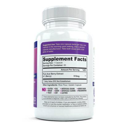 acai bottle supplement facts
